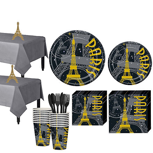 ba7ee465 Black & Gold Paris Tableware Kit for 32 Guests
