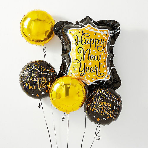 Black Gold Silver Happy New Year Balloon Kit With Weight Clip