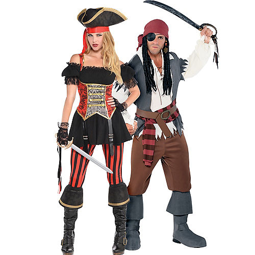 adult lassie lady pirate castaway captain pirate couples costumes