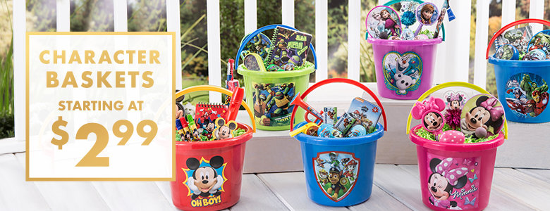 Easter baskets for kids plush baskets plastic buckets party city easter baskets character baskets starting at cent299 negle Gallery