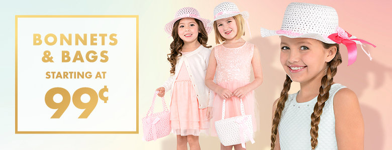 Easter Bonnets & Bags starting at 99&cent