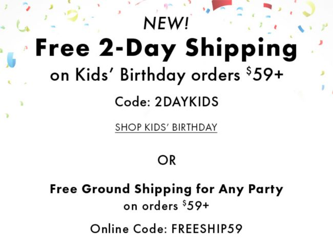 Free 2 Day Shipping On Kids Birthday Orders