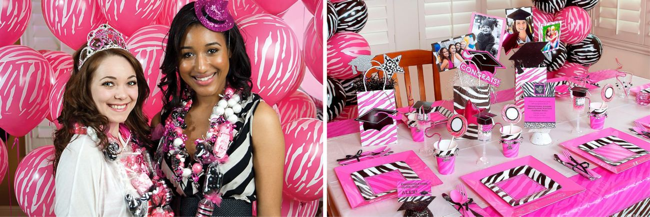 "Super Stylish Sweet 16th Birthday Zebra Print 7/"" Paper Plates 8 Per Pack"