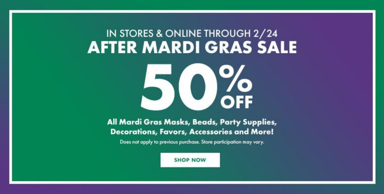 50% off Mardi Gras Party Supplies Shop Now