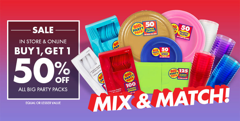 Big Party Packs Buy One, Get One 50% off Shop Now