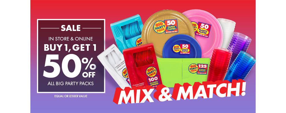Big Party Pack Tableware - Buy One, Get One at 50% off