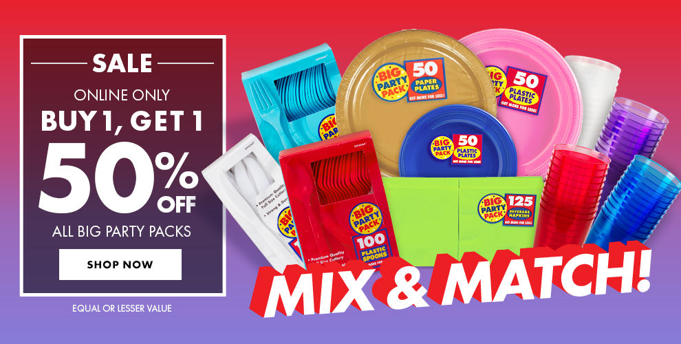 Big Party Packs Buy 1, Get 1 at 50% off