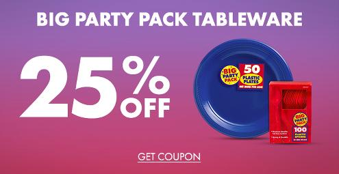 25% Off Big Party Pack Tableware