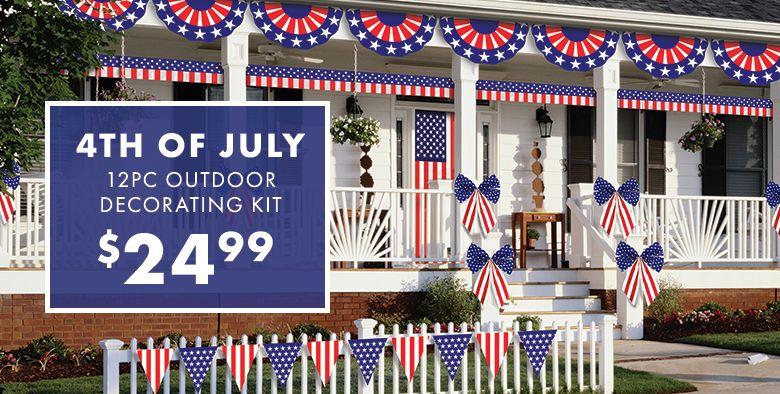 Patriotic American Flag Outdoor Decorating Kit 12pc