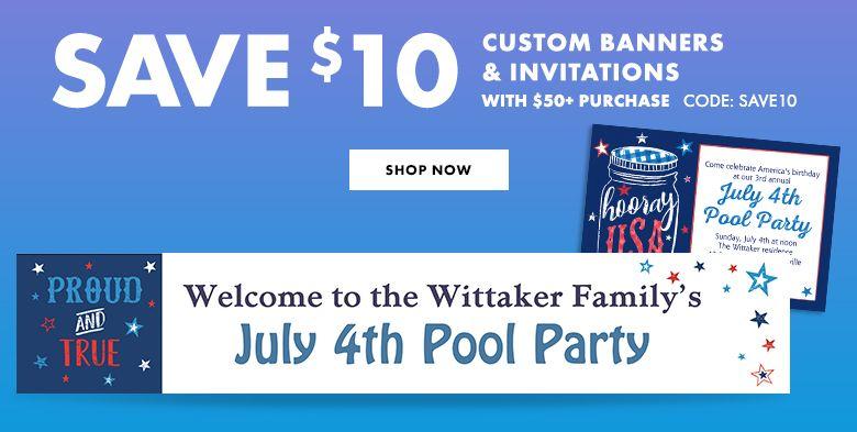 Custom 4th of July Invitations & Banners