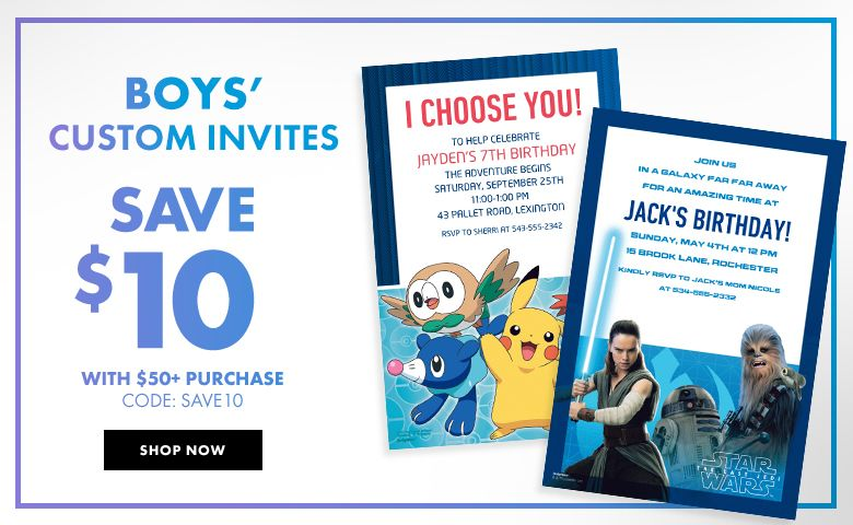 Boy's Birthday Invitations – $10 off with $50+ purchase Use Code:SAVE10 Shop Now