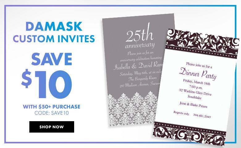 Custom Damask Design Invitations – $10 off with $50+ purchase Use Code:SAVE10 Shop Now