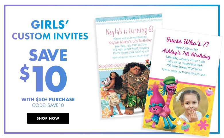 Girl's Birthday Invitations – $10 off with $50+ purchase Use Code:SAVE10 Shop Now