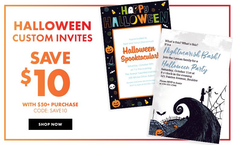 Custom Halloween Invitations Save $10 with a $50 purchase! Use code: SAVE10 Shop Now