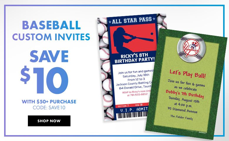 Baseball Invitations – $10 off with $50+ purchase Use Code:SAVE10 Shop Now
