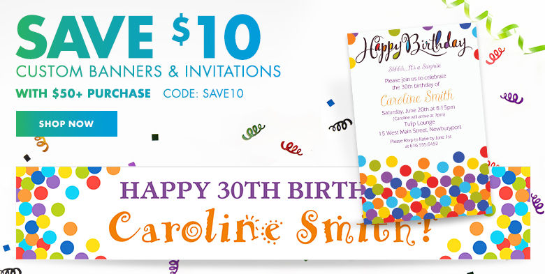 Custom Happy Birthday Invitations & Banners