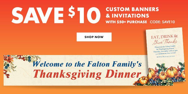 Custom Thanksgiving Invitations & Banners