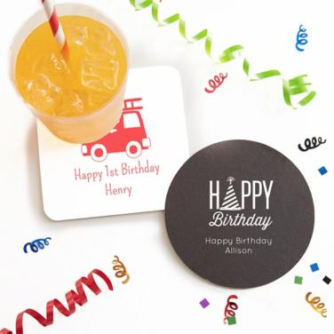 Personalized First Birthday Coasters
