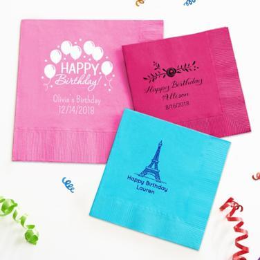 Personalized Girls Birthday Napkins