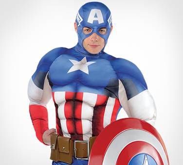 Adult Muscled Captain America Costume