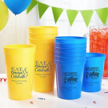 Personalized Happy Birthday Cups