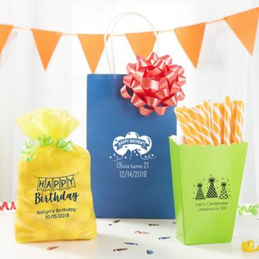 Personalized Happy Birthday Favor Bags & Boxes