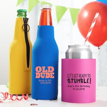 Personalized Milestone Coozies & Huggers