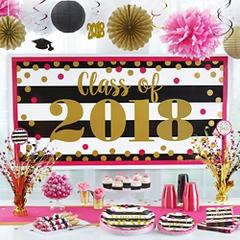Pink and Black Graduation Party Supplies